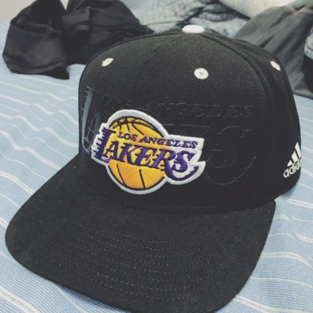 adidas NBA 湖人隊 棒球帽 休閒帽 公司貨 黑色