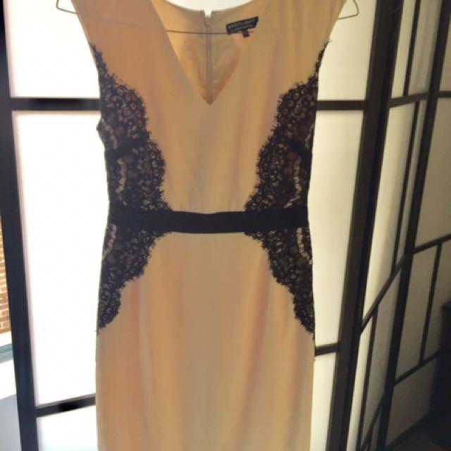 Amazing Warehouse Dress Beige Black Lace