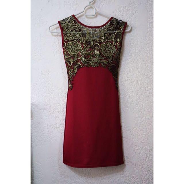 Baroque Maroon Dress