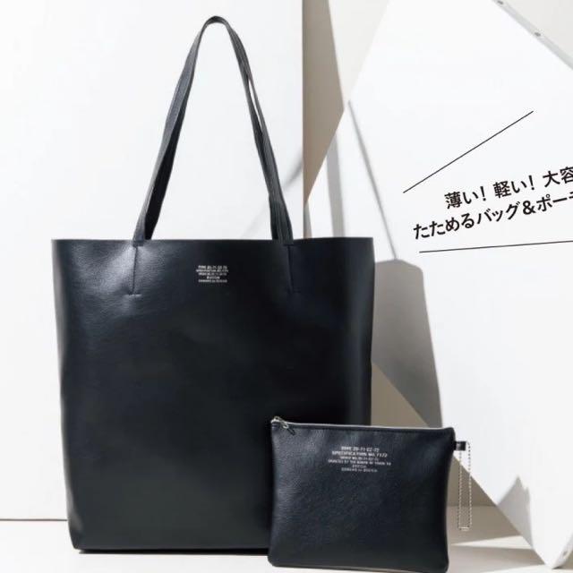 ◆Belle Shop◆日本雜誌附錄 Zucca 黑色皮革托特包+收納包