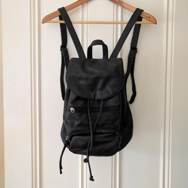 Black Pleather Back Pack