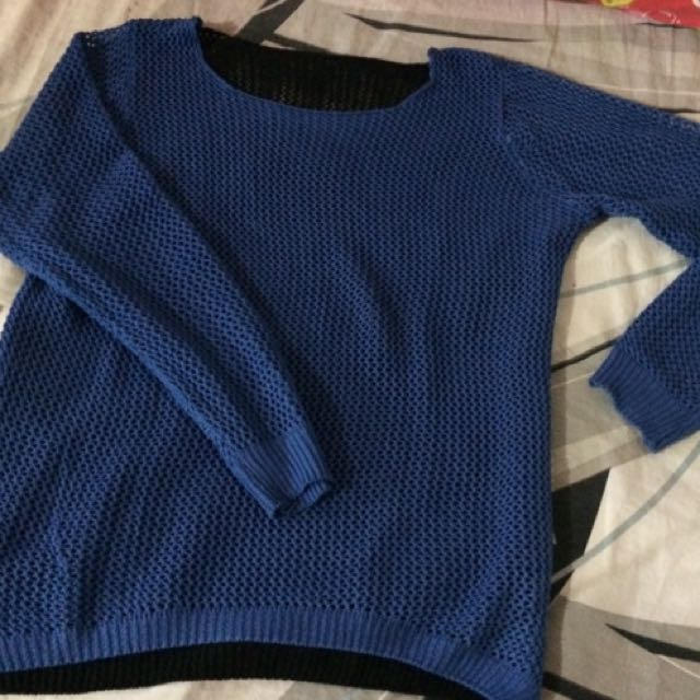 Blue and Black Knitted Net Long sleeve