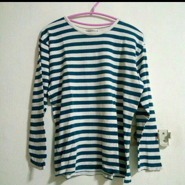 Blue Stripes Longsleeve Top Tshirt Kaos Garis Salur