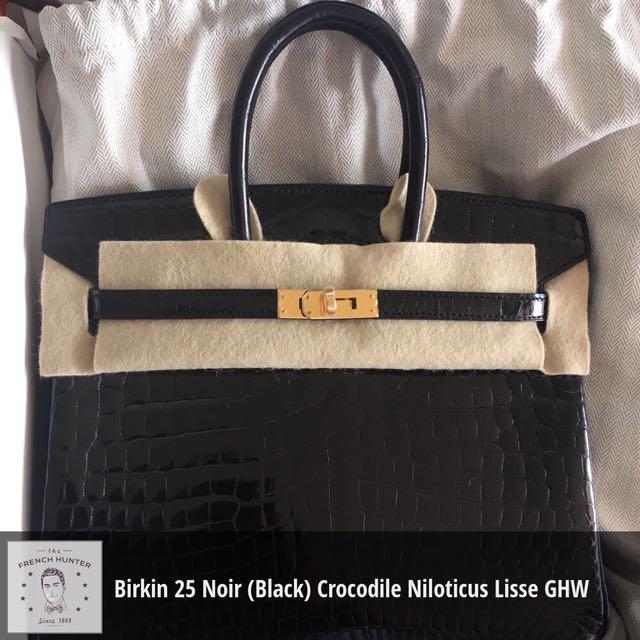 851e7d145b BNIB Hermès Birkin 25 Noir (Black) Crocodile Niloticus Lisse Gold ...