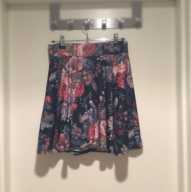 Boohoo Floral Aline Skirt
