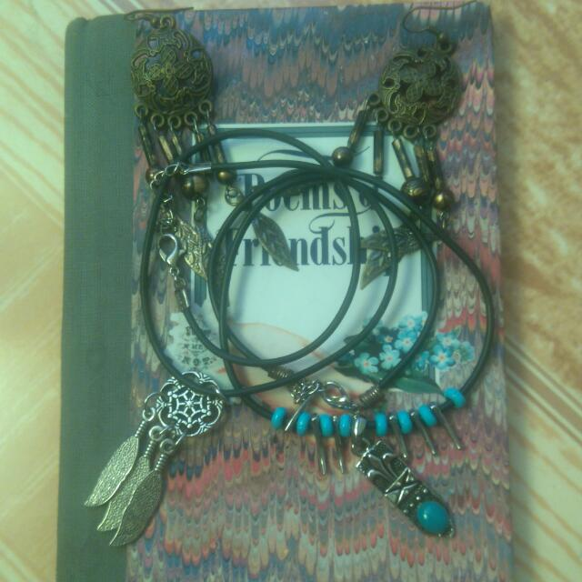 BOOK and DREAM CATCHER Dangling Earrings And  Necklace In  Tribal Blue Beads