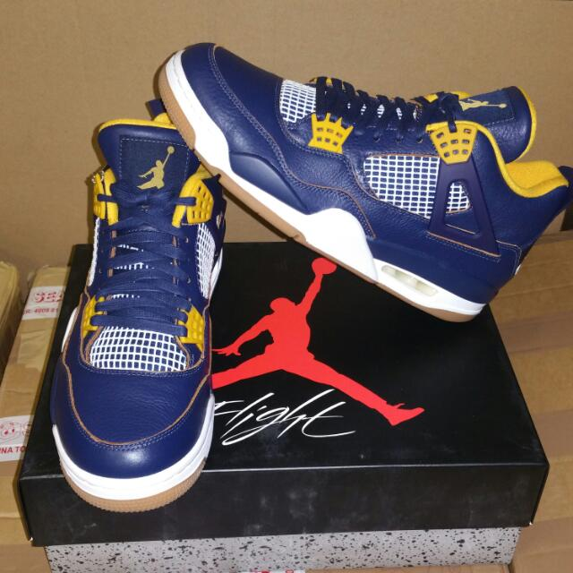 Brand New DS Air Jordan 4 Retro (Navy Blue/Metallic Gold) Size: US 10 ($240 Negotiable)