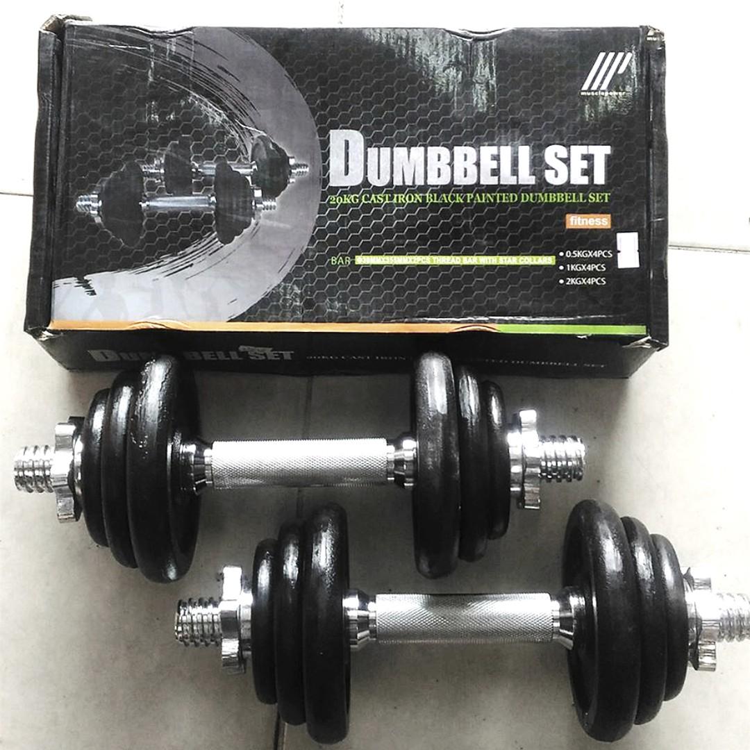 Brand New Dumbbell Set - 20kg Iron Black - Rubber Hex - Gym Equipment