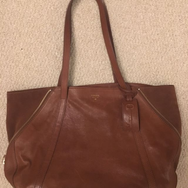 Brown Fossil Leather Bag