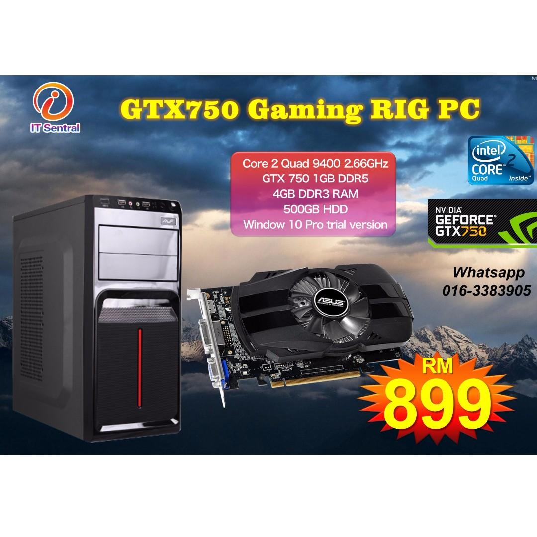 Core 2 Quad + GTX750 1GB DDR5 gaming PC