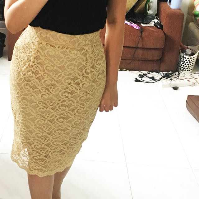 Cream Rok Brokat