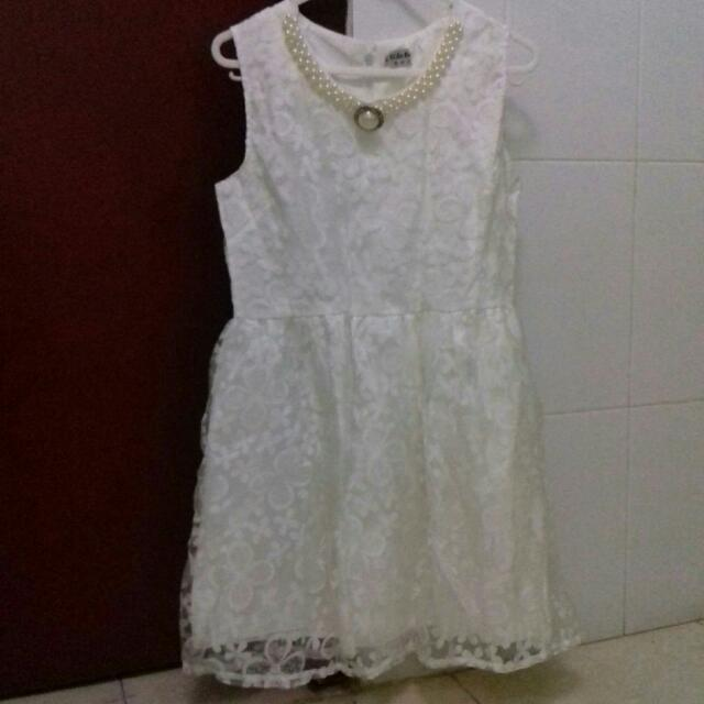 Dress White Brokat