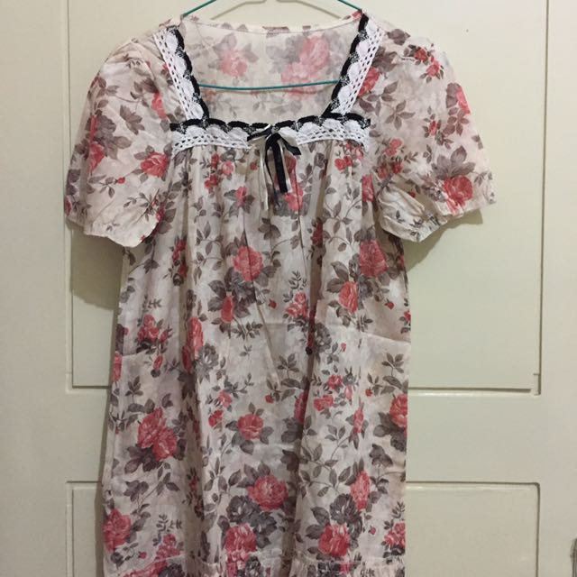 Flower Top Blouse Floral With Lace Size M