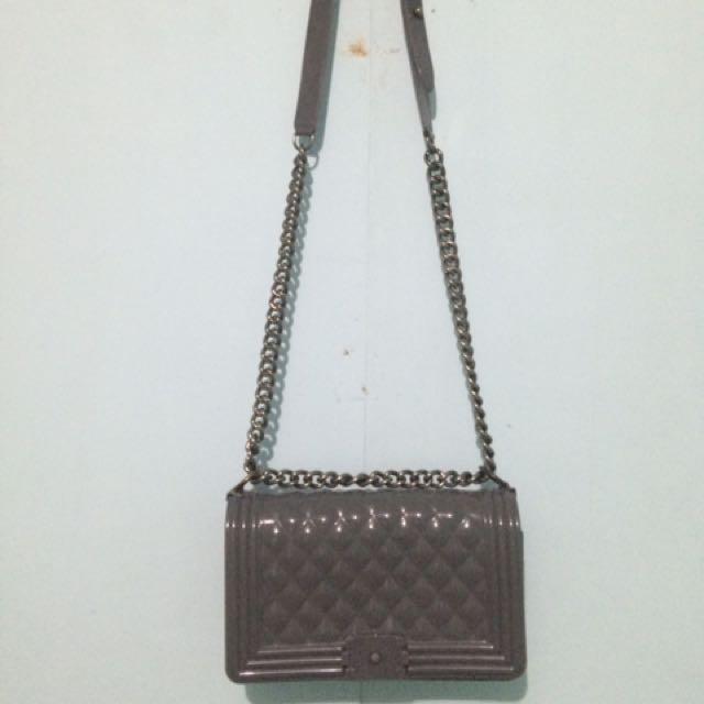 Gray Jelly Shoulder Bag