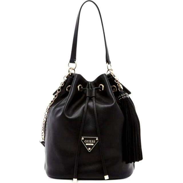 85f9dc22c0 Guess Black Thompson Drawstring Bucket Bag