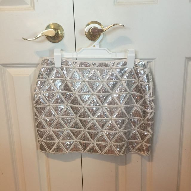 H&M Silver And Gold Sequin Skirt
