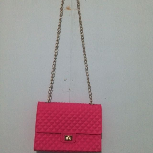 Hot Pink Jelly Sling Bag