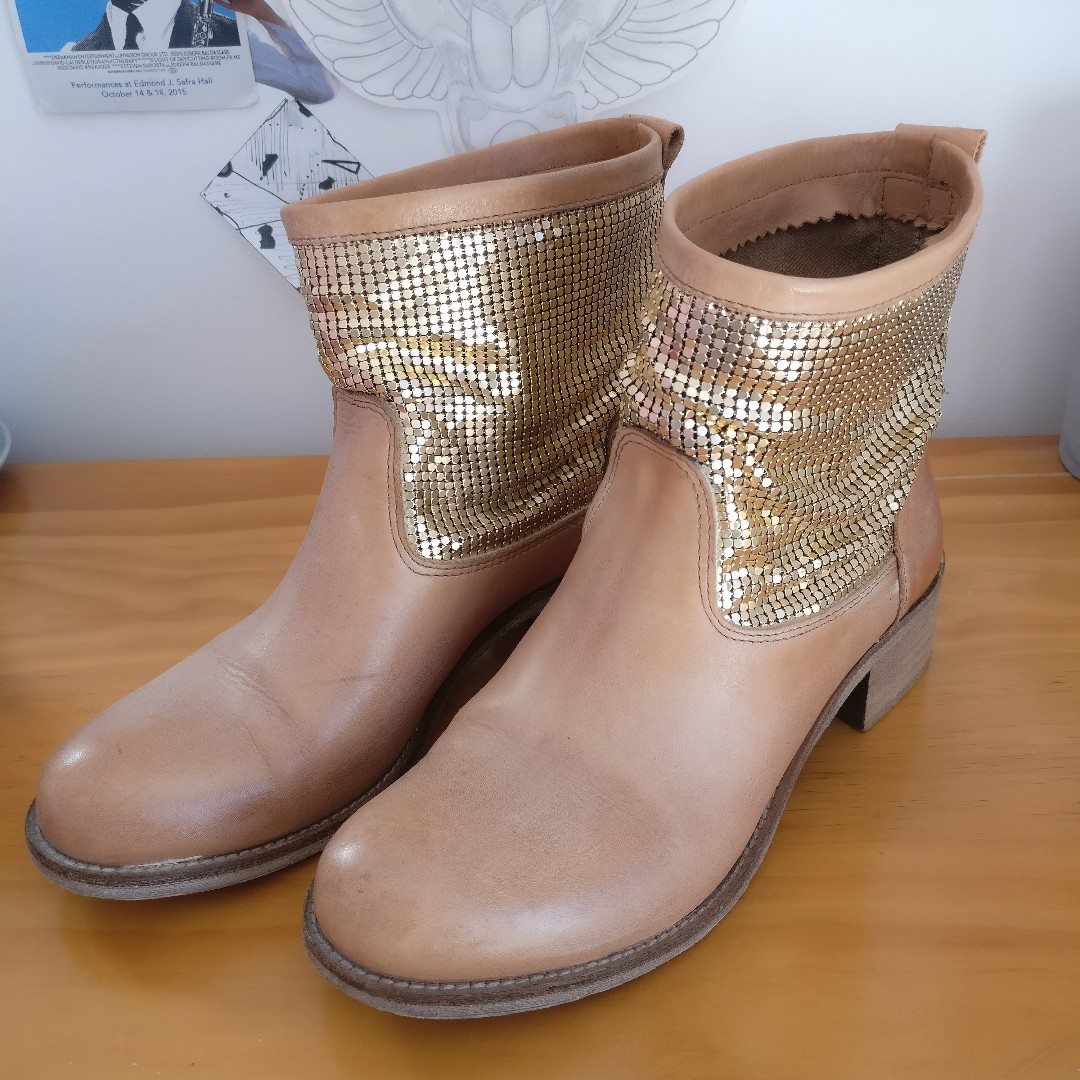 Italian Gold Ankle Boots