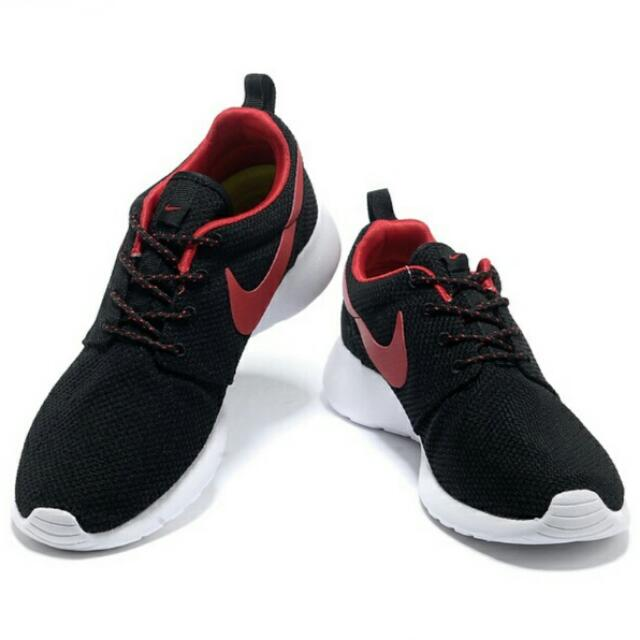 f7b0bfecfc7a1 Nike  Roshe Run Series - Black With Red Logo (Unisex)