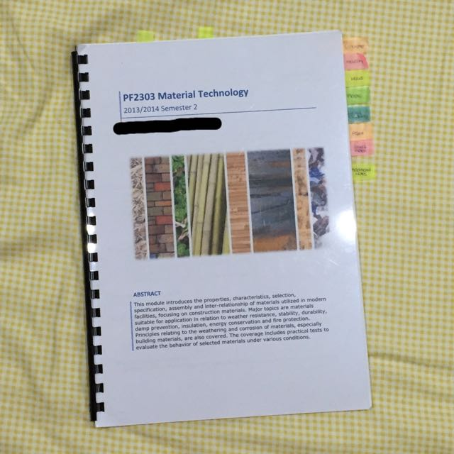 NUS PF2303 Material Technology Compiled Notes For Finals