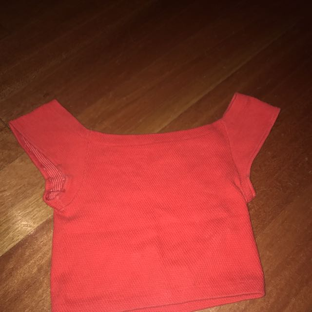 Part Off Shoulder Red Crop Top