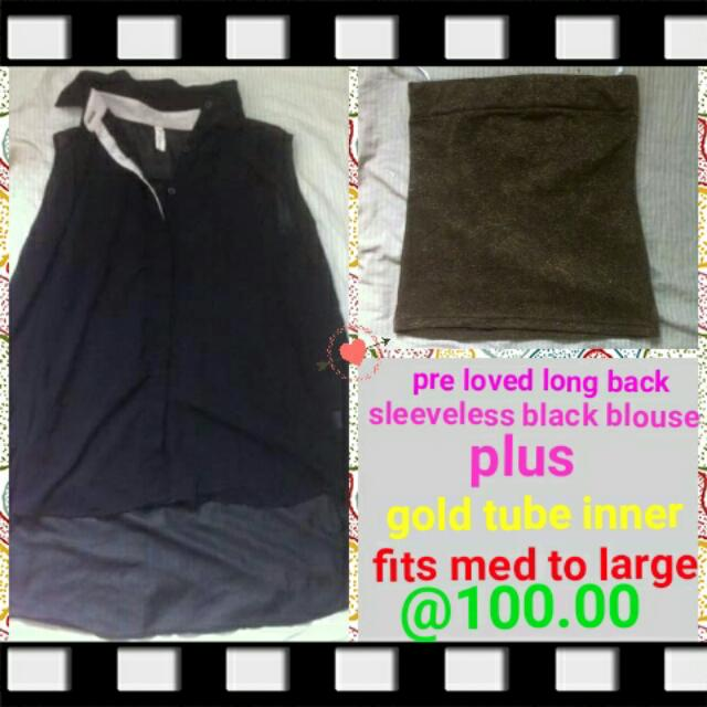 pre loved black long back blouse + tube inner