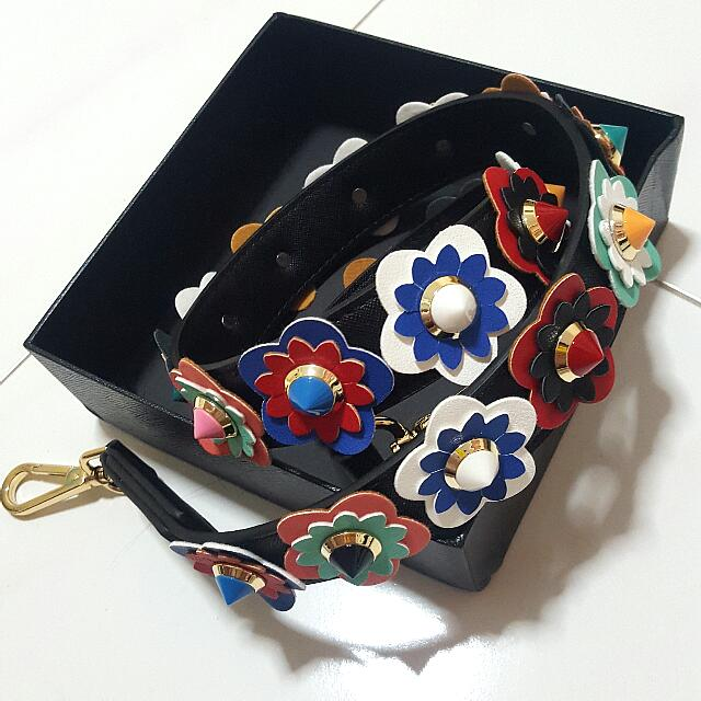 PU Leather Handbag Strap with Flowers and Studs (Fendi inspired)
