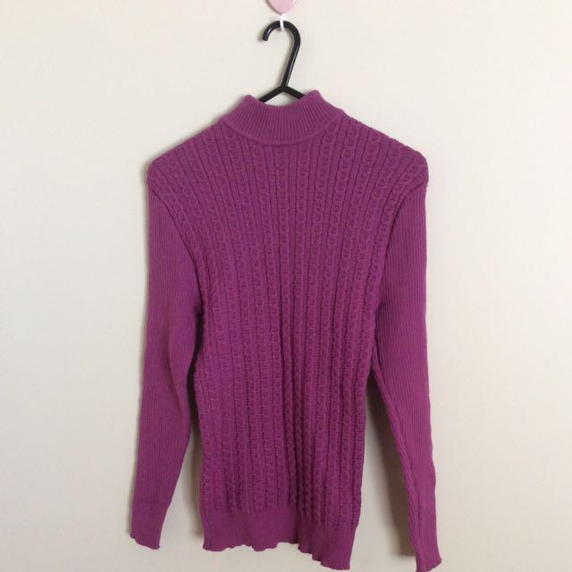 Purple Maroon Sweater Jumper Turtle Neck Women Clothing