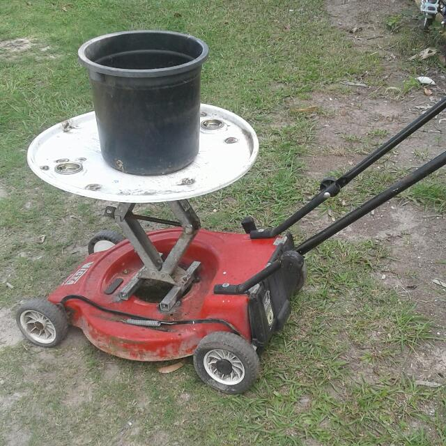 Re Puposed Mower Into Plant Stand