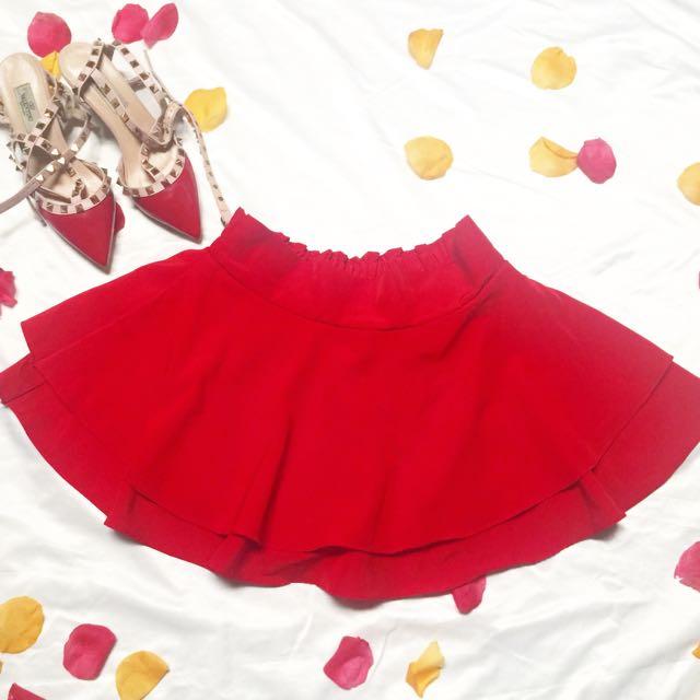 Red Apple Flare Skort / Skort Merah Murah / Rok Merah Ngembang / Flare Skirt / Second Rok Merah