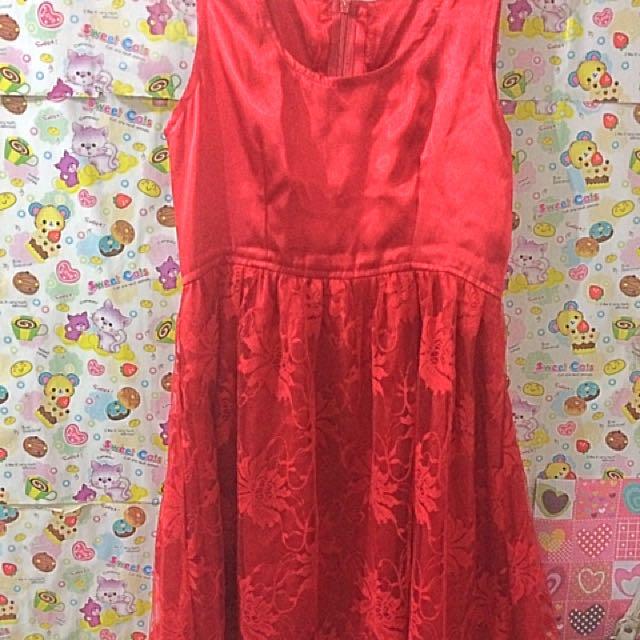 red dress semi brokat