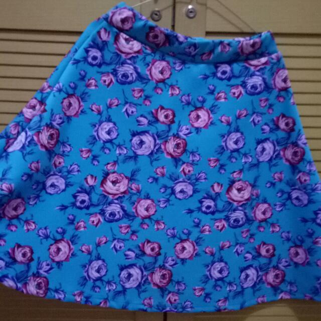 rok wanita rose blue