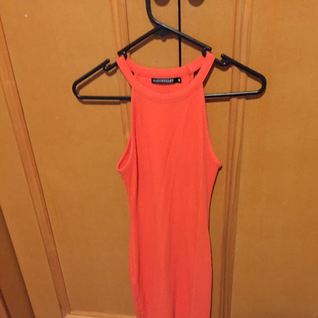 Rose Bullet Orange Ribbed Fabric Dress Size 6