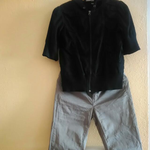Set: Blouse Jacket W Hoodie + Army Green Cropped Pants