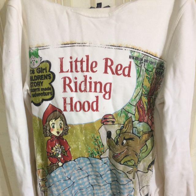 白色復古小紅帽童話長袖帽T