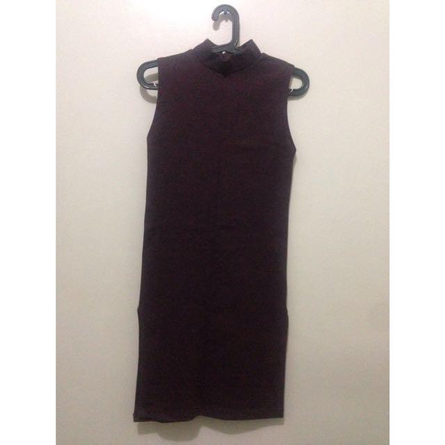 Turtle Neck Dress W/ Slit
