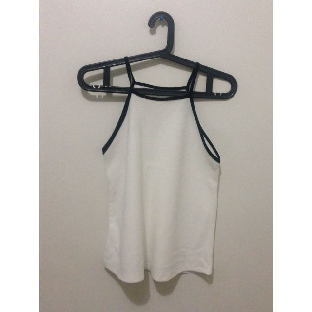 White With Black Lining Top
