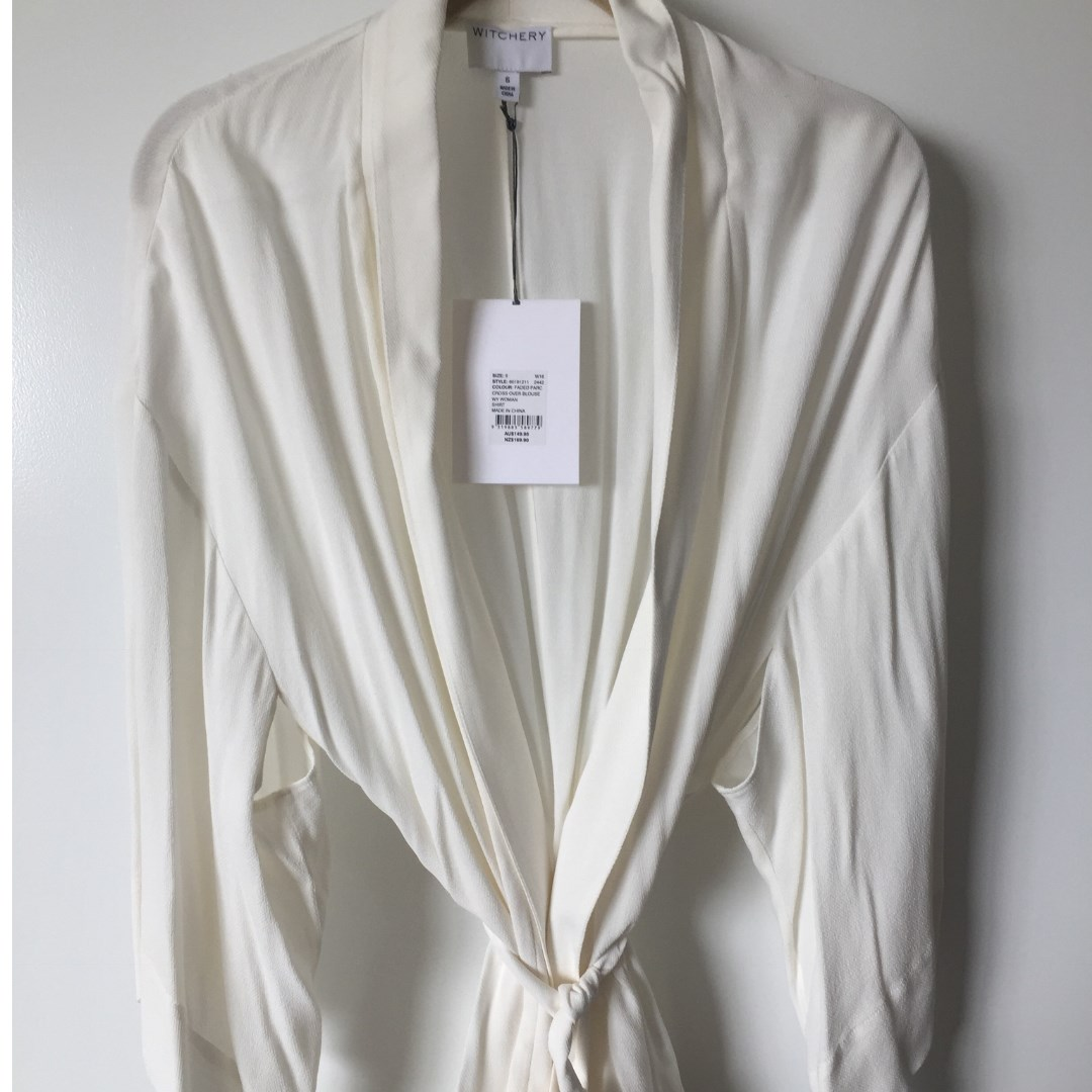 Witchery Faded Parcment Cross Over Blouse Size 6 RRP $149.95