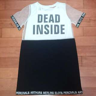 全新 白色網紗英文字母黑白撞色兩件式洋裝/上衣