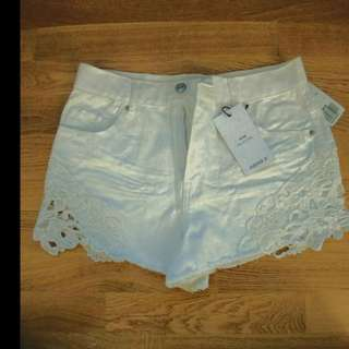 White Crochet/Denim Shorts
