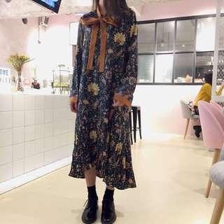 韓國復古碎花洋裝