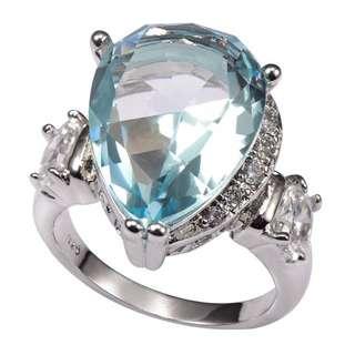 Brand New Simulated Aquamarine & White Sapphire Teardrop Ring