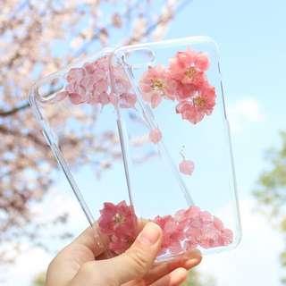 手工訂製-櫻花永生花軟殼全包