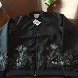 Guess Embroidered Satin Bomber Jacket Size Small