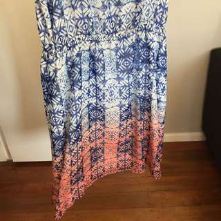 Blue And Coral Dres