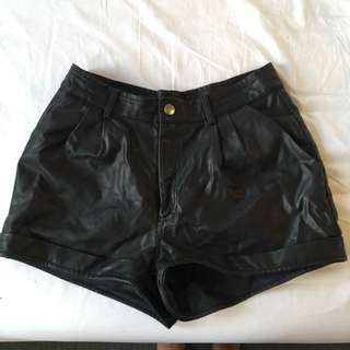 NEON HART High Waisted Black Leather Shorts