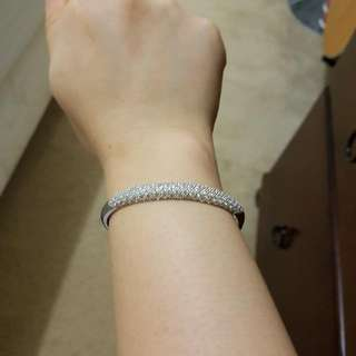 Cubic ZIRCONIA STERLING Silver Bangle