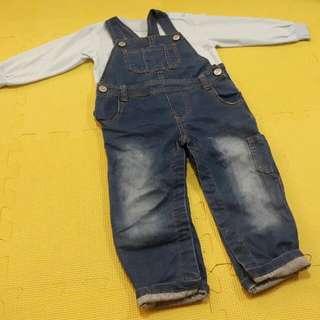 男童女童都適合,刷色全長吊帶褲。