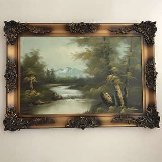 Large Antique Hand Painted Art With Beautiful Fancy Metal Frame