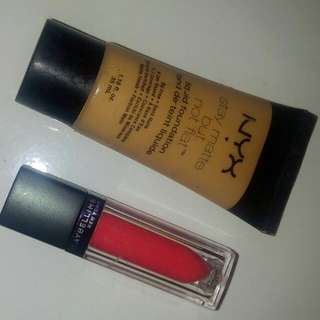 Nyx Liquid Foundation & Maybelline Vivid Matte